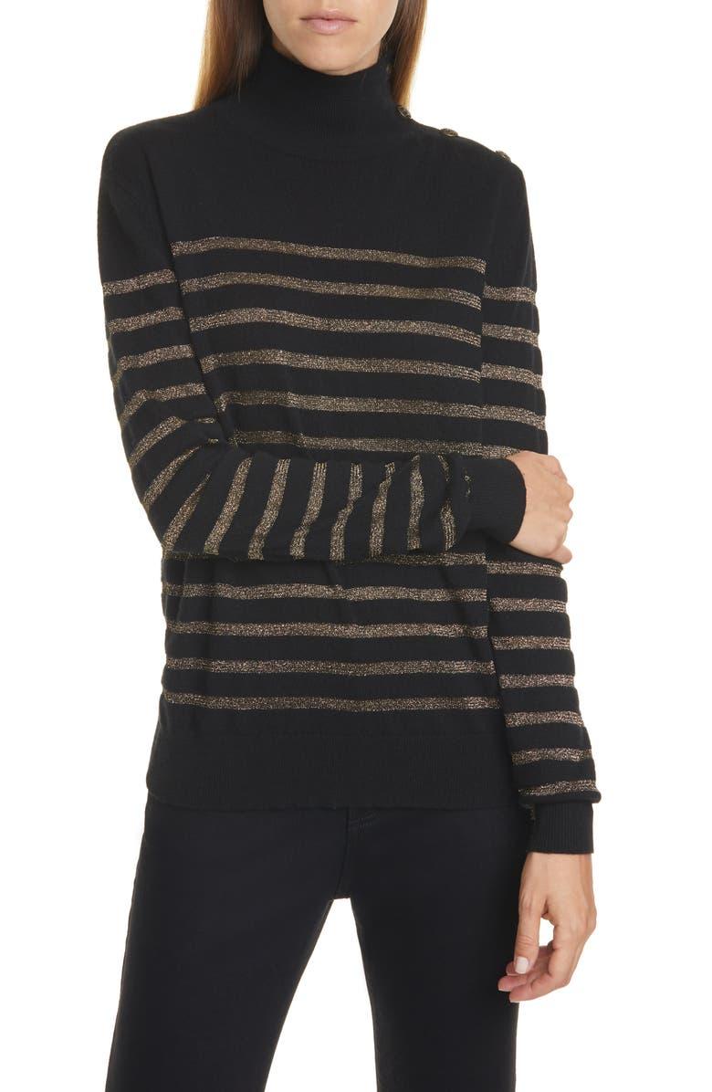NILI LOTAN Spruce Metallic Stripe Cashmere Blend Sweater, Main, color, BLACK GOLD STRIPE