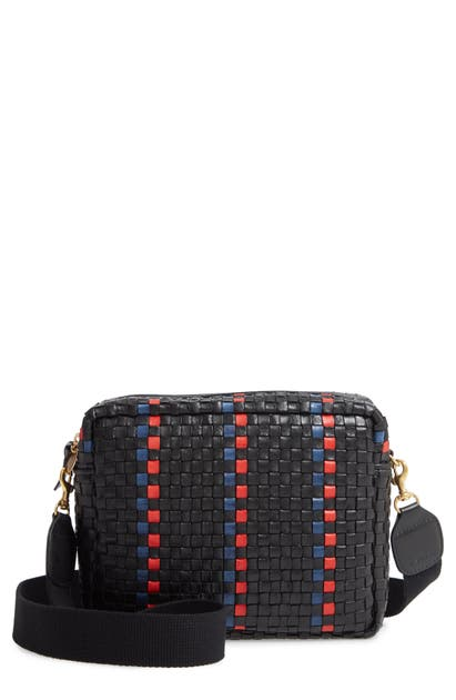 Clare V Marisol Woven Leather Crossbody Bag In Black W/ Pacific And Cherry