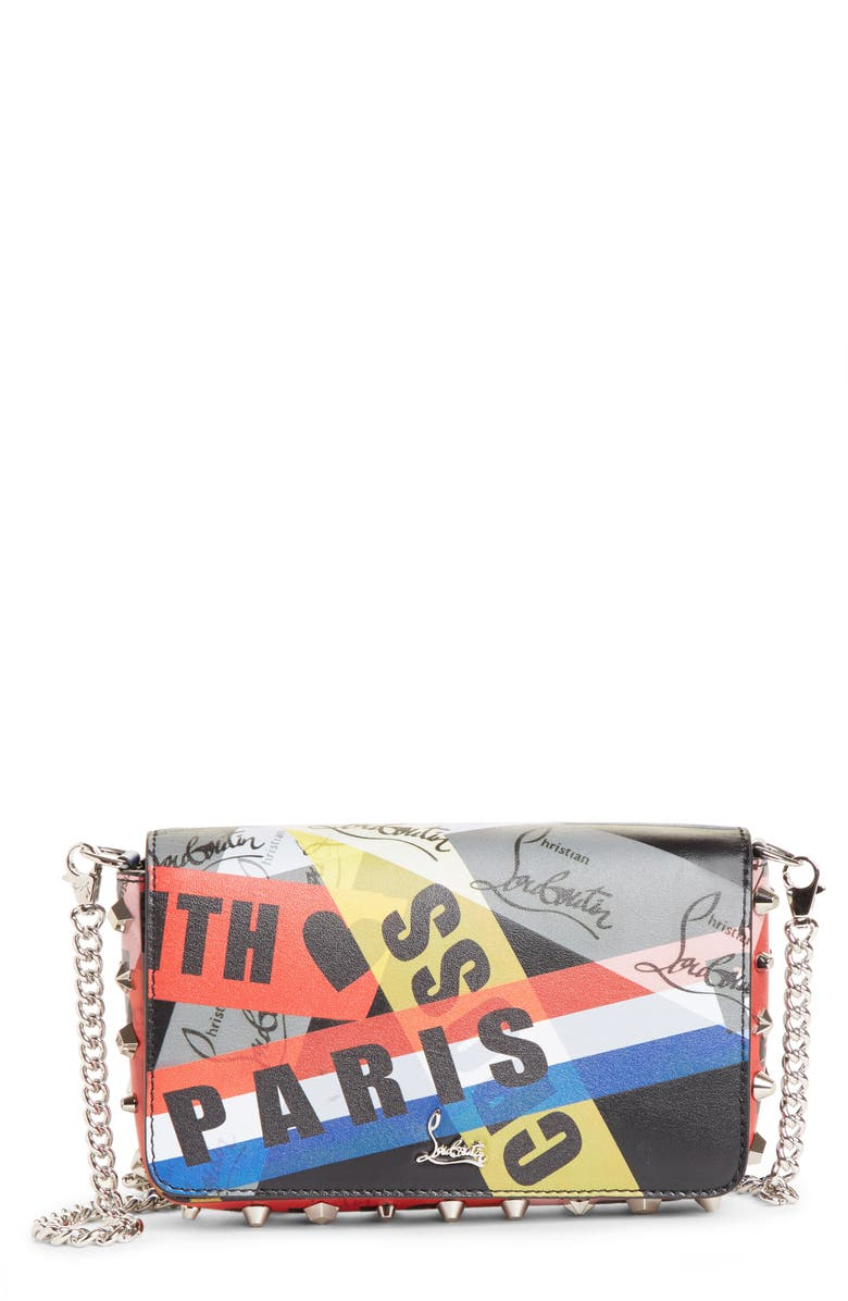 CHRISTIAN LOUBOUTIN Zoompouch Loubiballage Calfskin Clutch, Main, color, BLACK MULTI/ SILVER