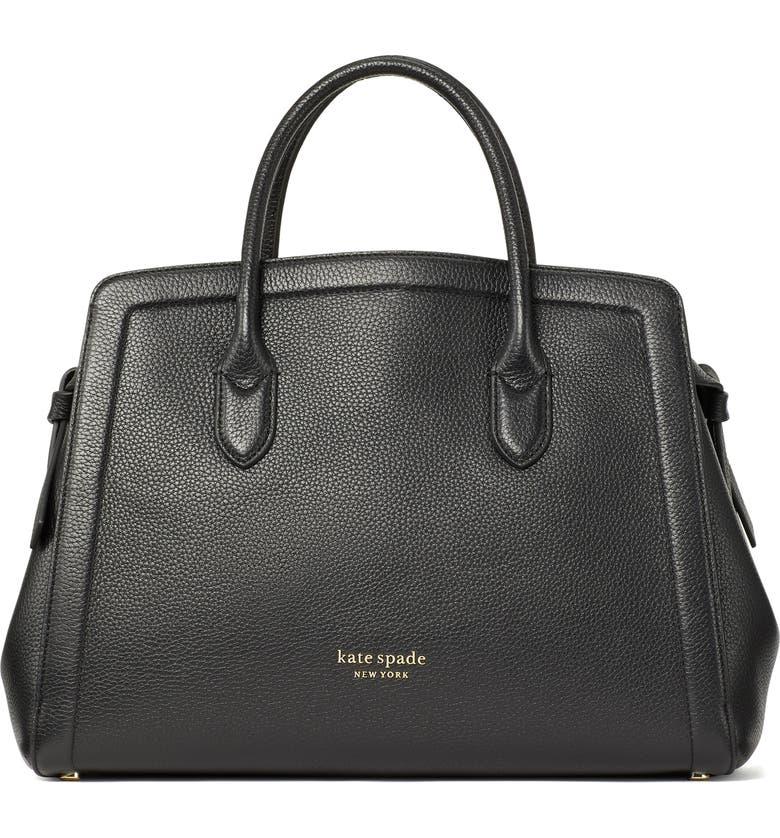 KATE SPADE NEW YORK knott large leather satchel, Main, color, BLACK