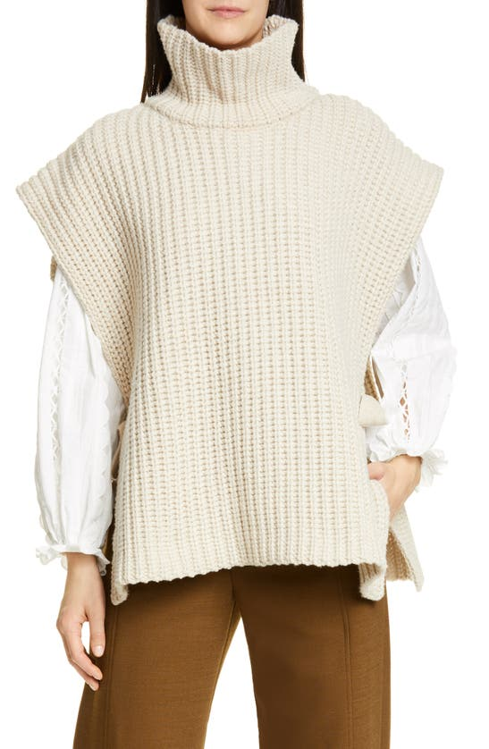 See By Chloé Side Tie Turtleneck Wool Blend Poncho In White Powder