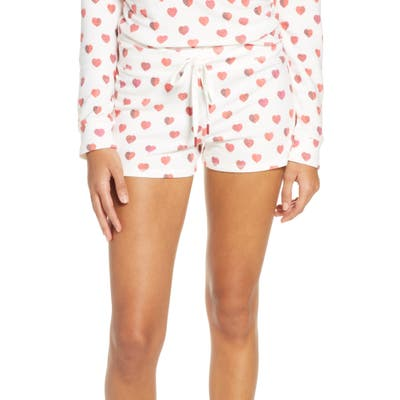 Pj Salvage Heart Print Pajama Shorts, Ivory
