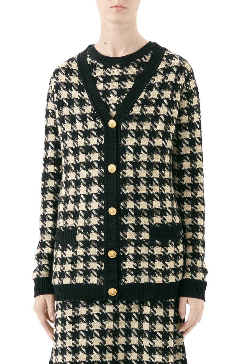 GUCCI Houndstooth Jacquard Cashmere & Silk Cardigan, Main, color, IVORY/ BLACK