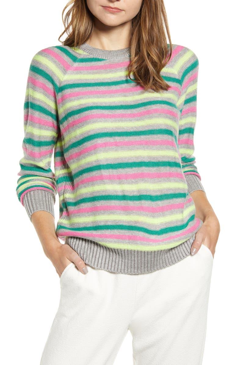 LOU & GREY Carly Pop Stripe Pullover, Main, color, MULTI