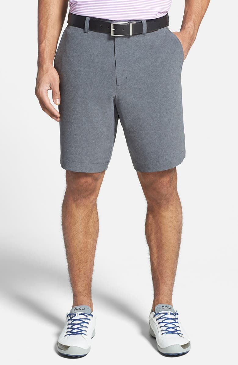 CUTTER & BUCK Bainbridge DryTec Flat Front Shorts, Main, color, IRON GREY