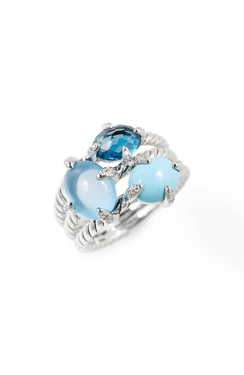 DAVID YURMAN Chatelaine<sup>®</sup> Three-Gemstone Diamond Ring, Main, color, SILVER/ DIAMOND/ BLUE TOPAZ