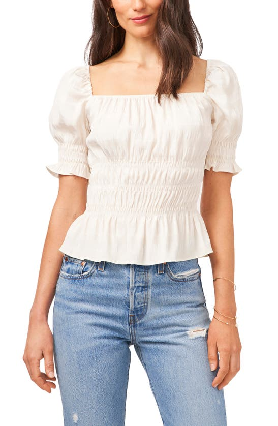 1.state Tops SMOCKED SQUARE NECK TOP