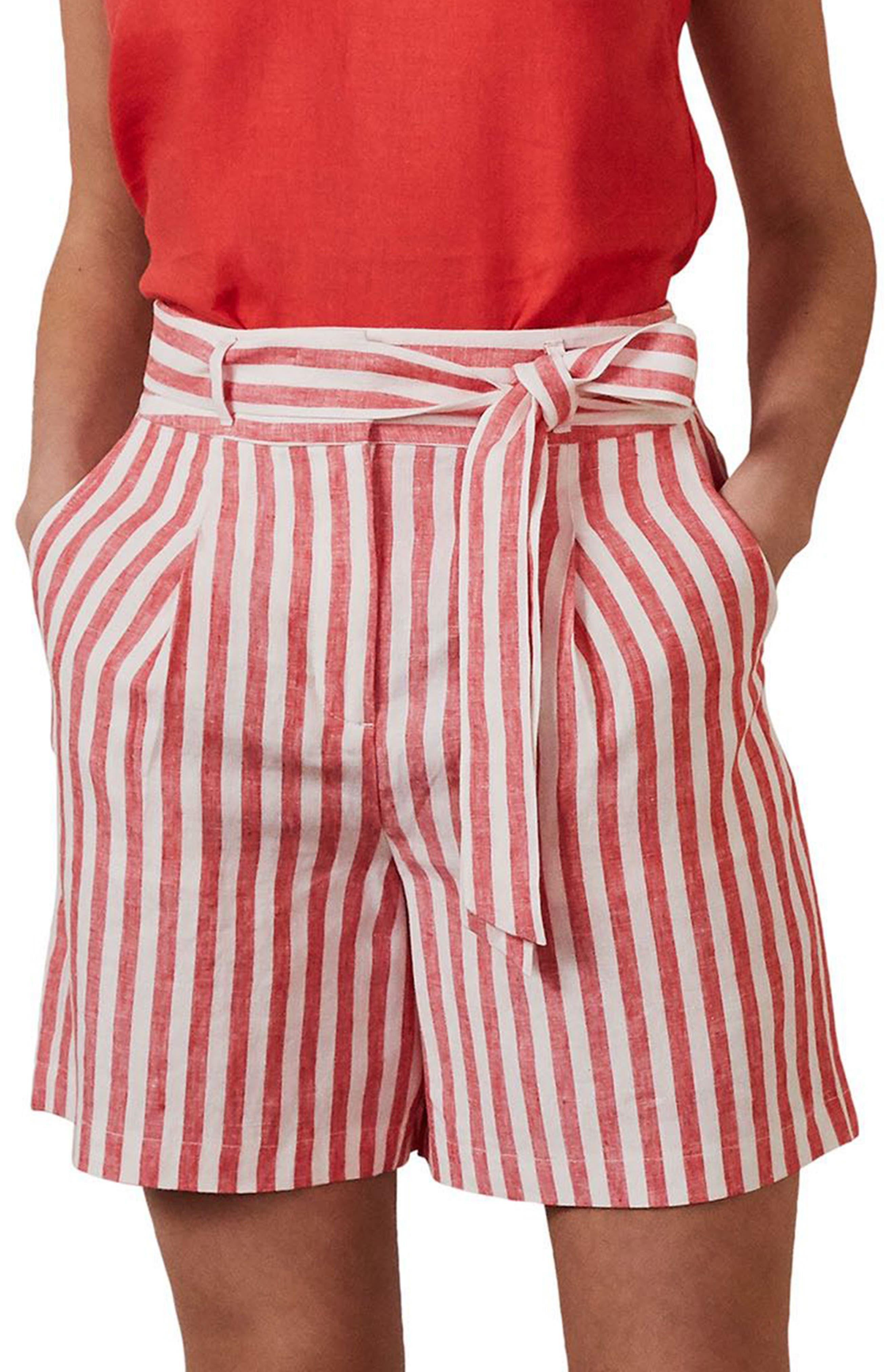 Boden Stripe High Waist Linen Shorts