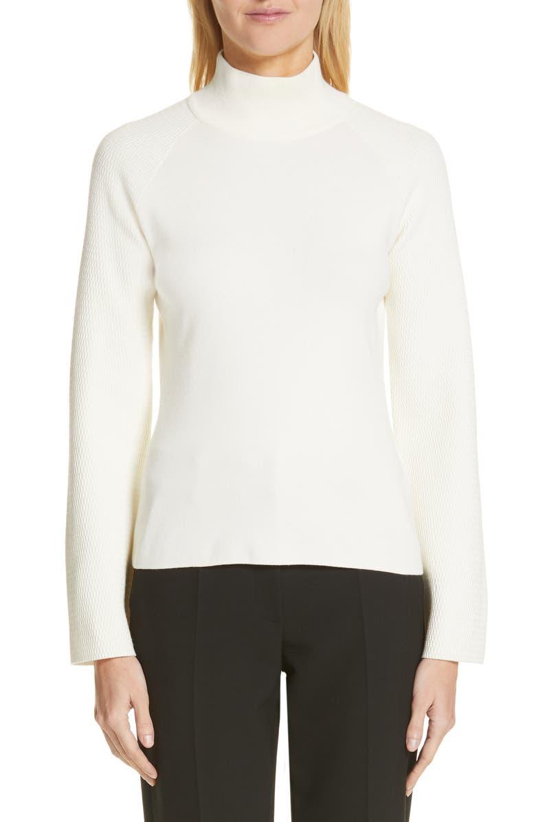 EMPORIO ARMANI Mock Neck Tuck Stitch Sweater, Main, color, IVORY
