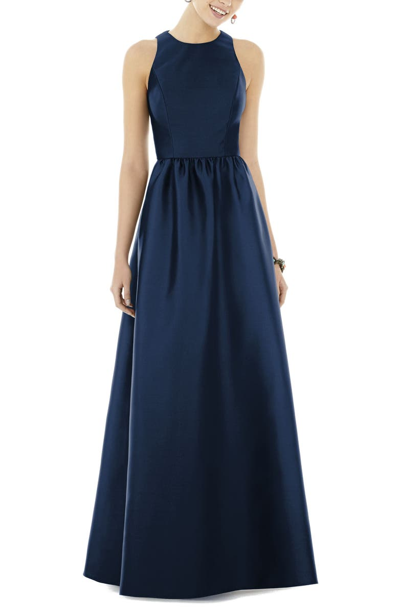 ALFRED SUNG Sateen Gown, Main, color, MIDNIGHT