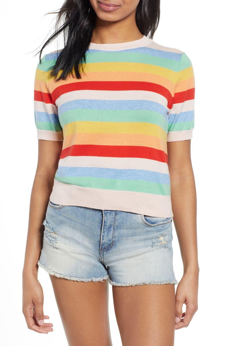 BP. Rainbow Stripe Sweater, Main, color, PINK CHINTZ RAINBOW STRIPE