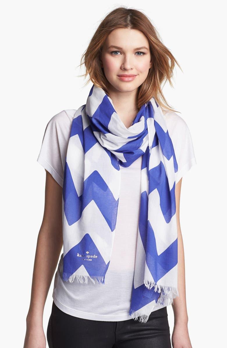 KATE SPADE NEW YORK 'chevron stripe' scarf, Main, color, 100
