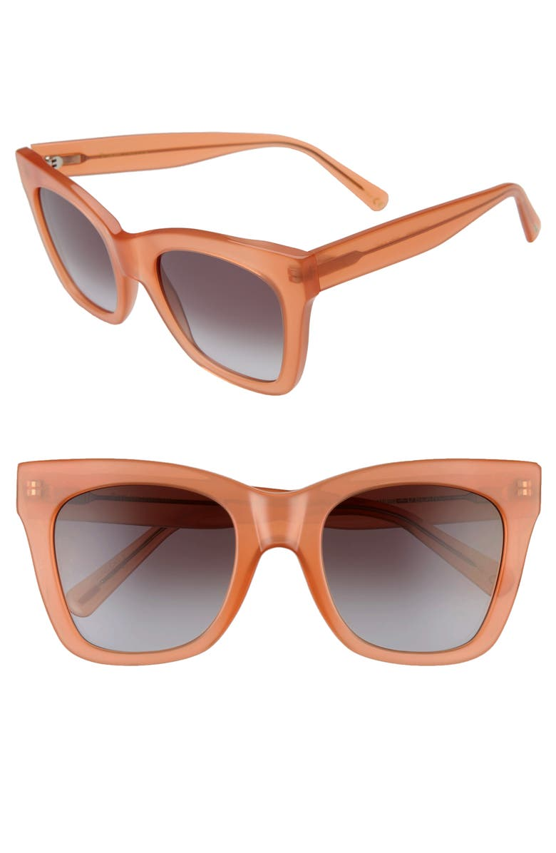 D'BLANC Beach Vida 53mm Square Cat Eye Sunglasses, Main, color, AMUSE APRICOT GRADIENT