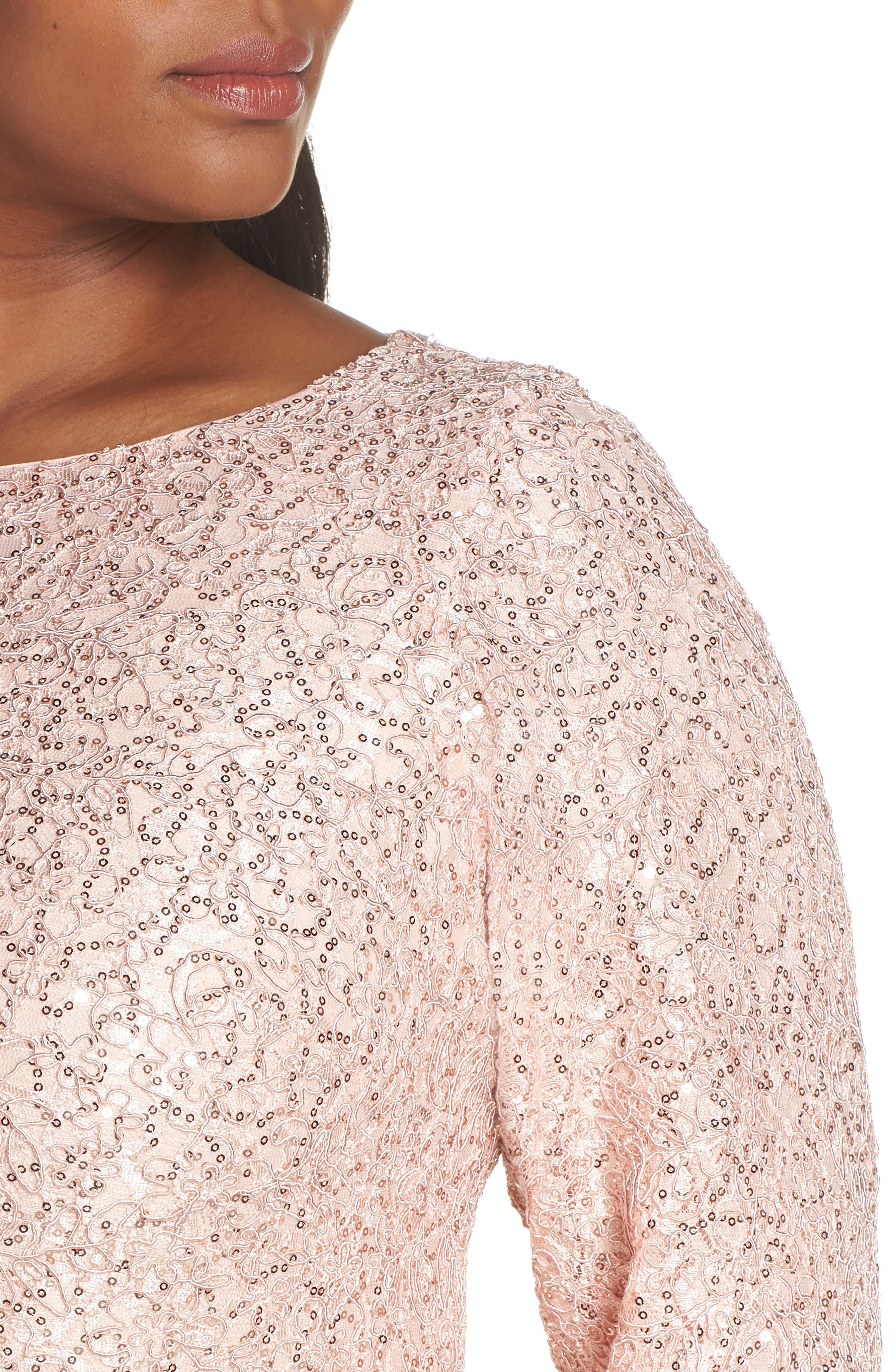 ,                             Sequin Lace Evening Dress,                             Alternate thumbnail 5, color,                             BLUSH
