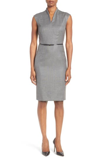 BOSS Difena Minidot Belted Wool Blend Sheath Dress