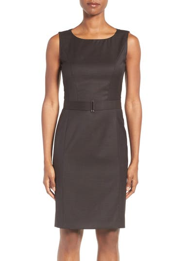 BOSS Dobina Belted Wool Sheath Dress (Regular & Petite)