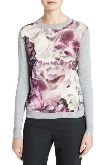 Ted Baker London Illuminated Bloom Woven Front Sweater