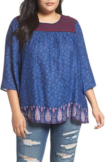 Lucky Brand Embroidered Yoke Peasant Top (Plus Size)