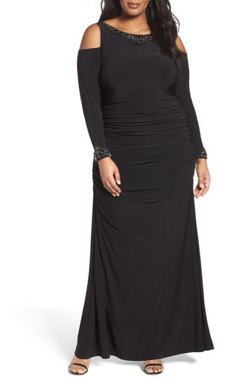 Adrianna Papell Embellished Cold Shoulder Gown (Plus Size)