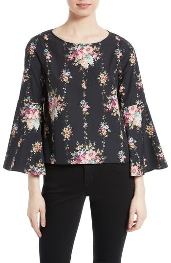 Alice + Olivia Shirley Bell Sleeve Floral Blouse