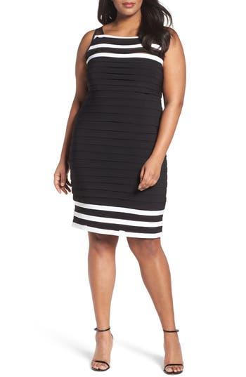 Adrianna Papell Stripe Shutter Pleat Jersey Sheath Dress (Plus Size)