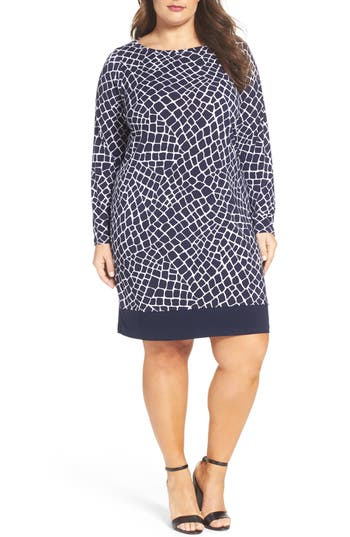 MICHAEL Michael Kors Nyla Border Croc Print Shift Dress (Plus Size)