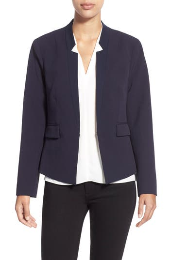 Ellen Tracy Fitted Reverse Lapel Blazer (Regular & Petite)