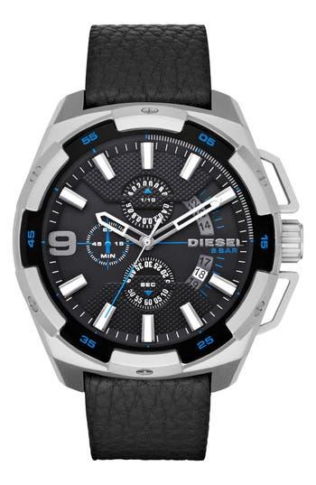 DIESEL® 'Heavyweight' Chronograph Leather Strap Watch, 50mm