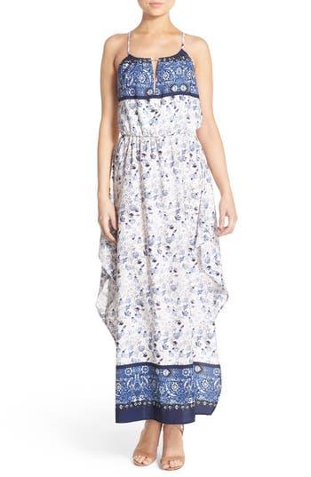 Fraiche by J Border Print Halter Maxi Dress
