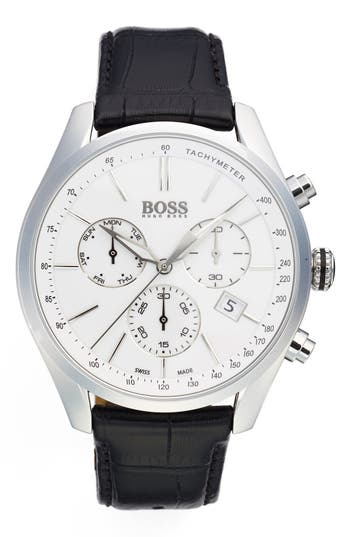 BOSS Swiss Made 'Millisime' Chronograph Leather Strap Watch, 46mm