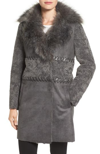 Elie Tahari Veronica Faux Fur Trim Jacket