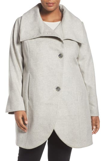 Tahari Asymmetrical Coat (Plus Size)