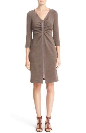 Lafayette 148 New York Ruched Front Zip Dress