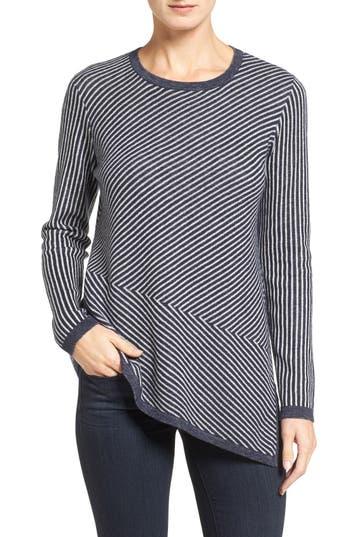 Nordstrom Collection Stripe Cashmere Asymmetrical Hem Pullover