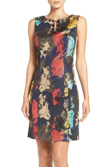 Ellen Tracy Embellished Metallic Jacquard Sheath Dress