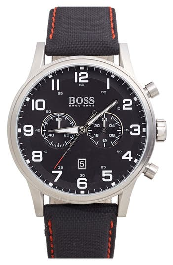 BOSS Chronograph Textured Leather Strap Watch, 44mm
