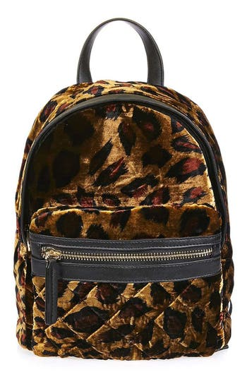 Topshop Bobby Mini Leopard Velvet Backpack