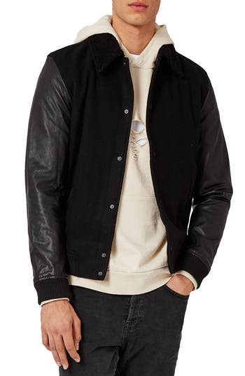 Topman Wool Blend Bomber Jacket with Leather Sleeves