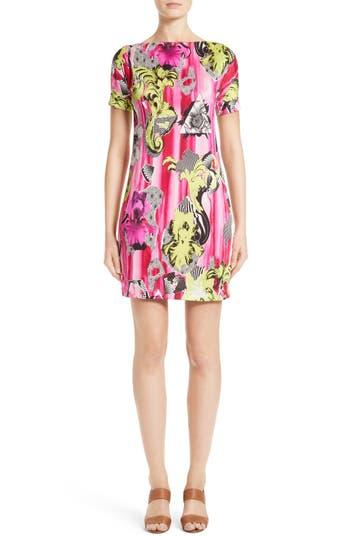 Versace Collection Print Jersey Cold Shoulder Dress