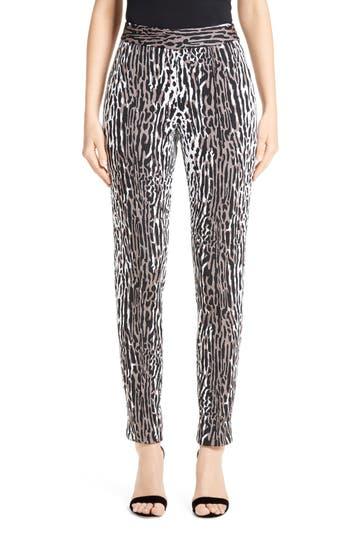 St. John Collection Leopard Jacquard Ankle Pants