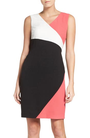 Ellen Tracy Colorblock Luxe Crepe Sheath Dress