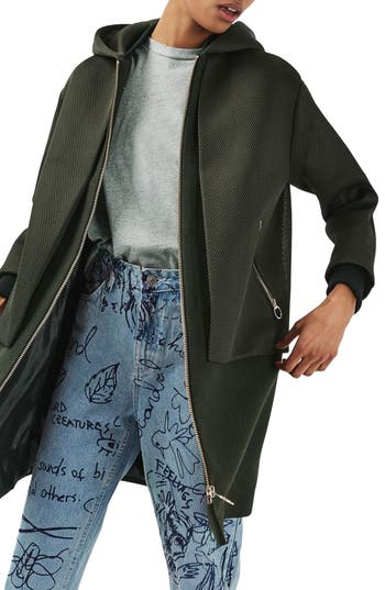 Topshop Airtex Overlay Wool Blend Coat