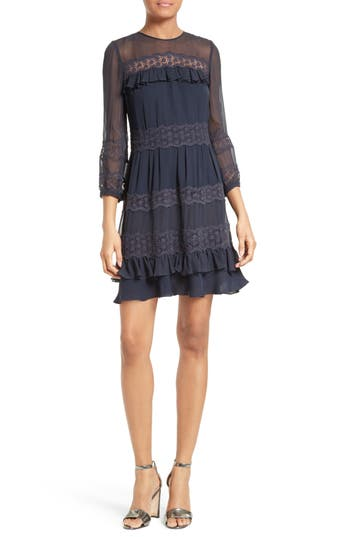 Rebecca Taylor Lace & Georgette Fit & Flare Dress