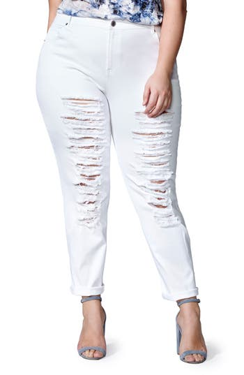 mblm by Tess Holliday Ripped Boyfriend Jeans (Plus Size)