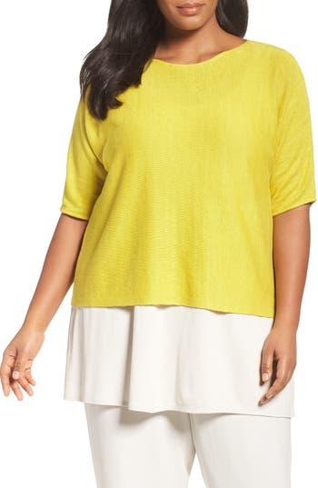 Eileen Fisher Organic Linen Crop Sweater (Plus Size)