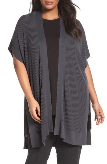 Eileen Fisher Sleek Knit Kimono Cardigan (Plus Size)