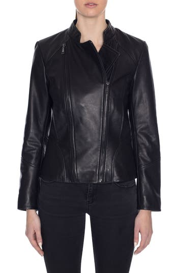 Tahari Carry Dual Zip Front Leather Jacket