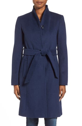 Ellen Tracy Belted Wool Blend Stand Collar Coat
