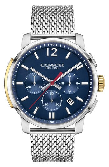 Coach 'Bleeker' Chronograph Mesh Strap Watch, 42mm