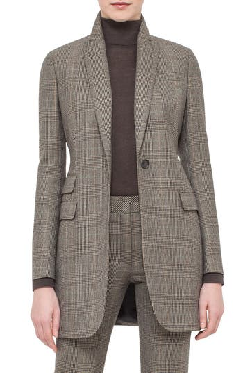 Akris One-Button Check Wool & Cashmere Jacket